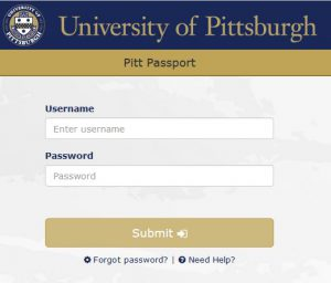 Screen shot of the My Pitt portal login page