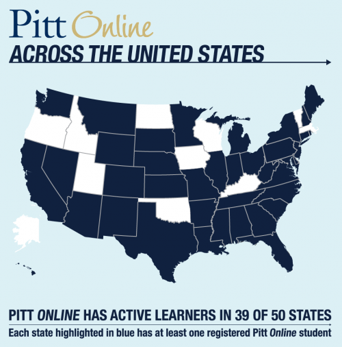 Map showing the 39 US States with at least one registered Pitt Online student