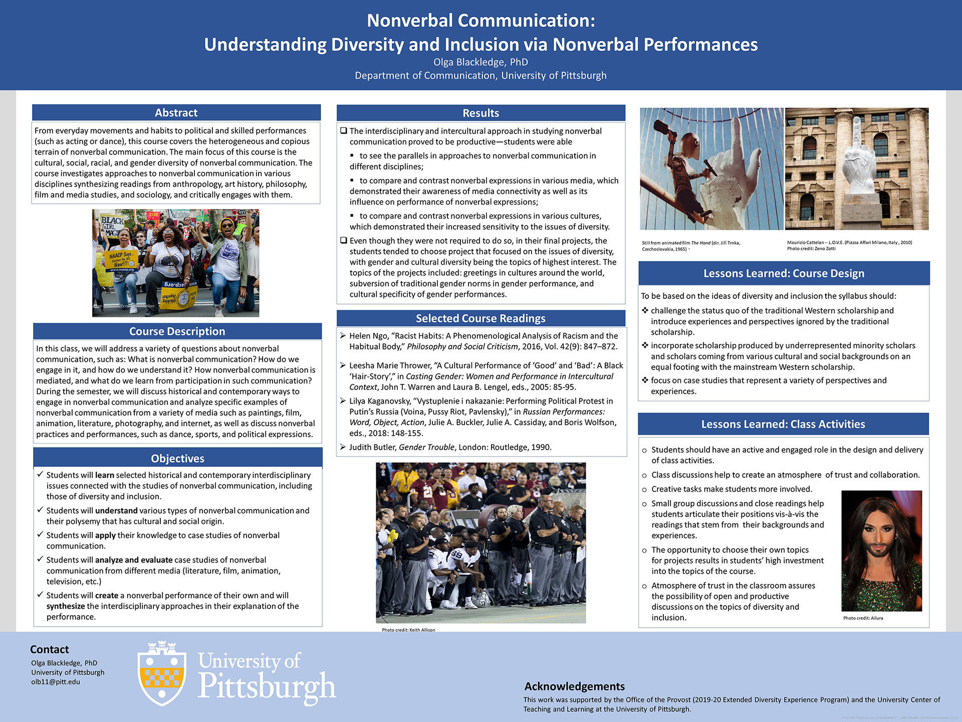 Olga Blackledge, PhD - Extended Diversity Experience 2020 Poster - Nonverbal Communication: Understanding Diversity and Inclusion via Nonverbal Performances