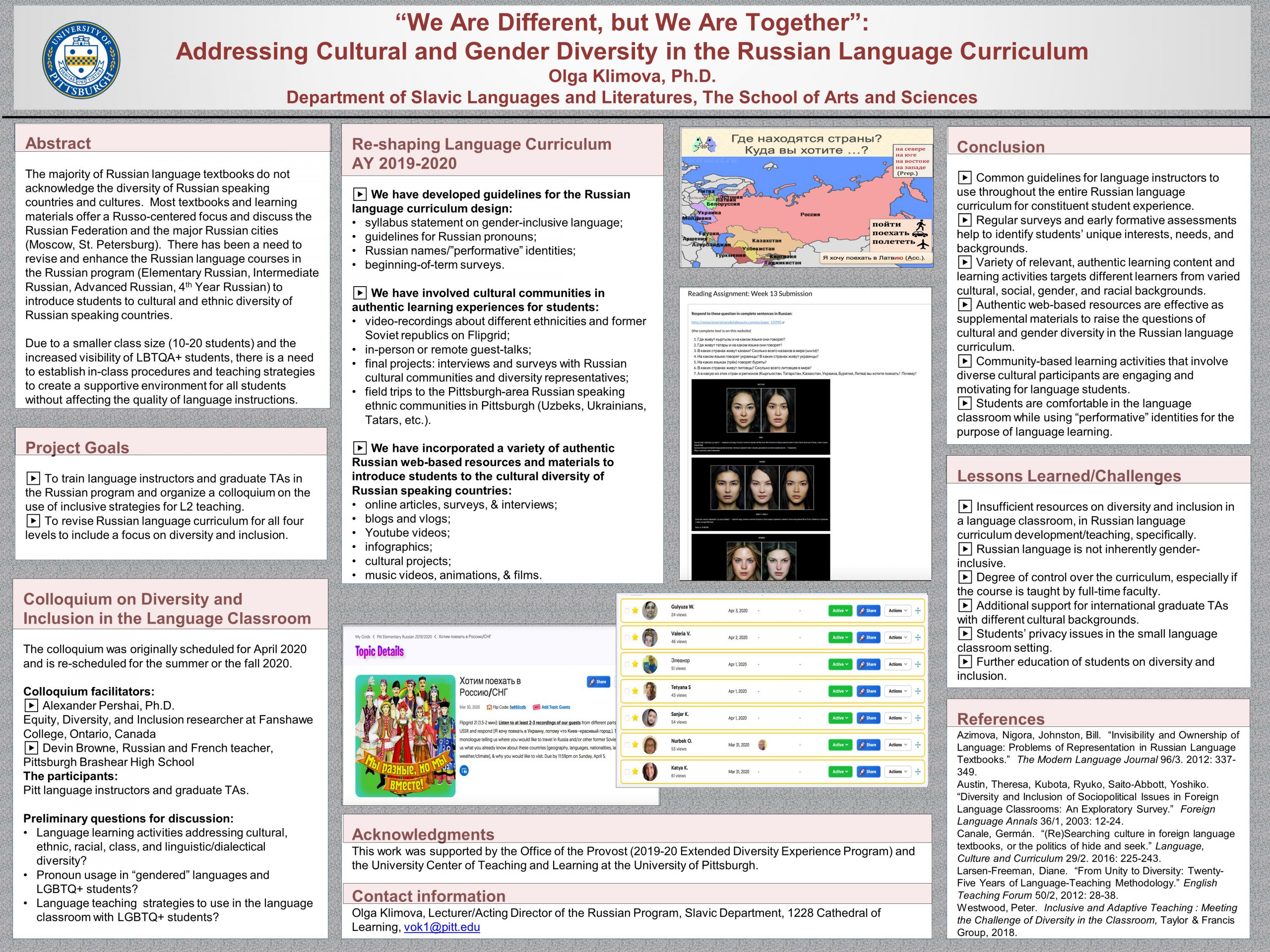 "Olga Klimova, PhD - Extended Diversity Experience 2020 Poster - ""We Are Different, but We Are Together"": Addressing Cultural and Gender Diversity in the Russian Language Curriculum"