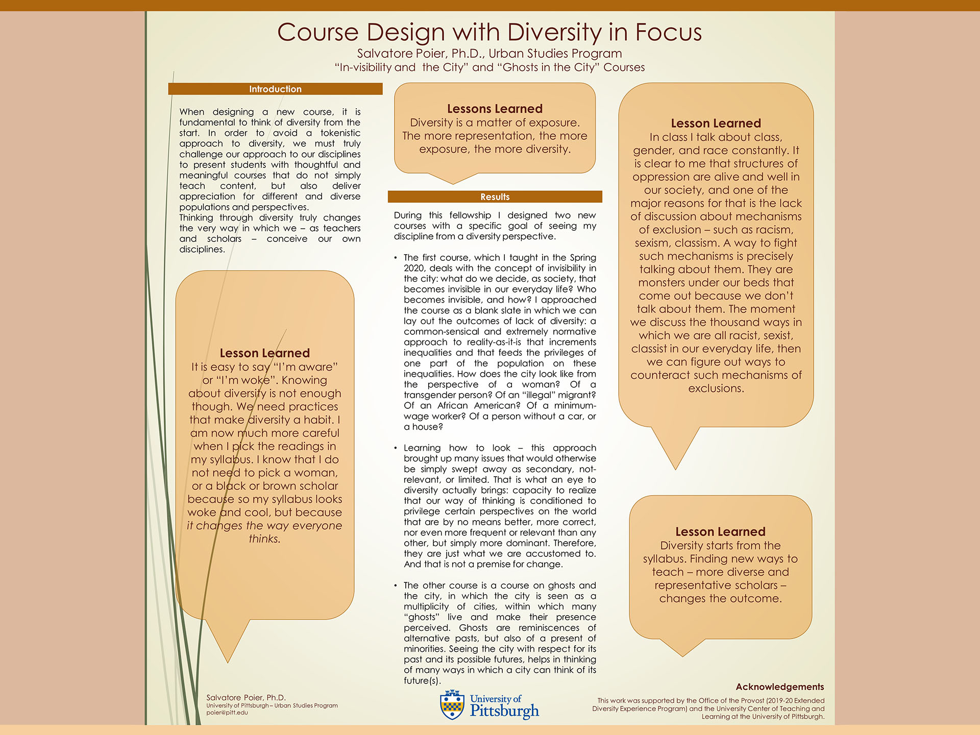 "Salvatore Poier, PhD - Extended Diversity Experience 2020 Poster- Course Design with Diversity in Focus: ""In-visibility and the City"" and ""Ghosts in the City"" Courses"