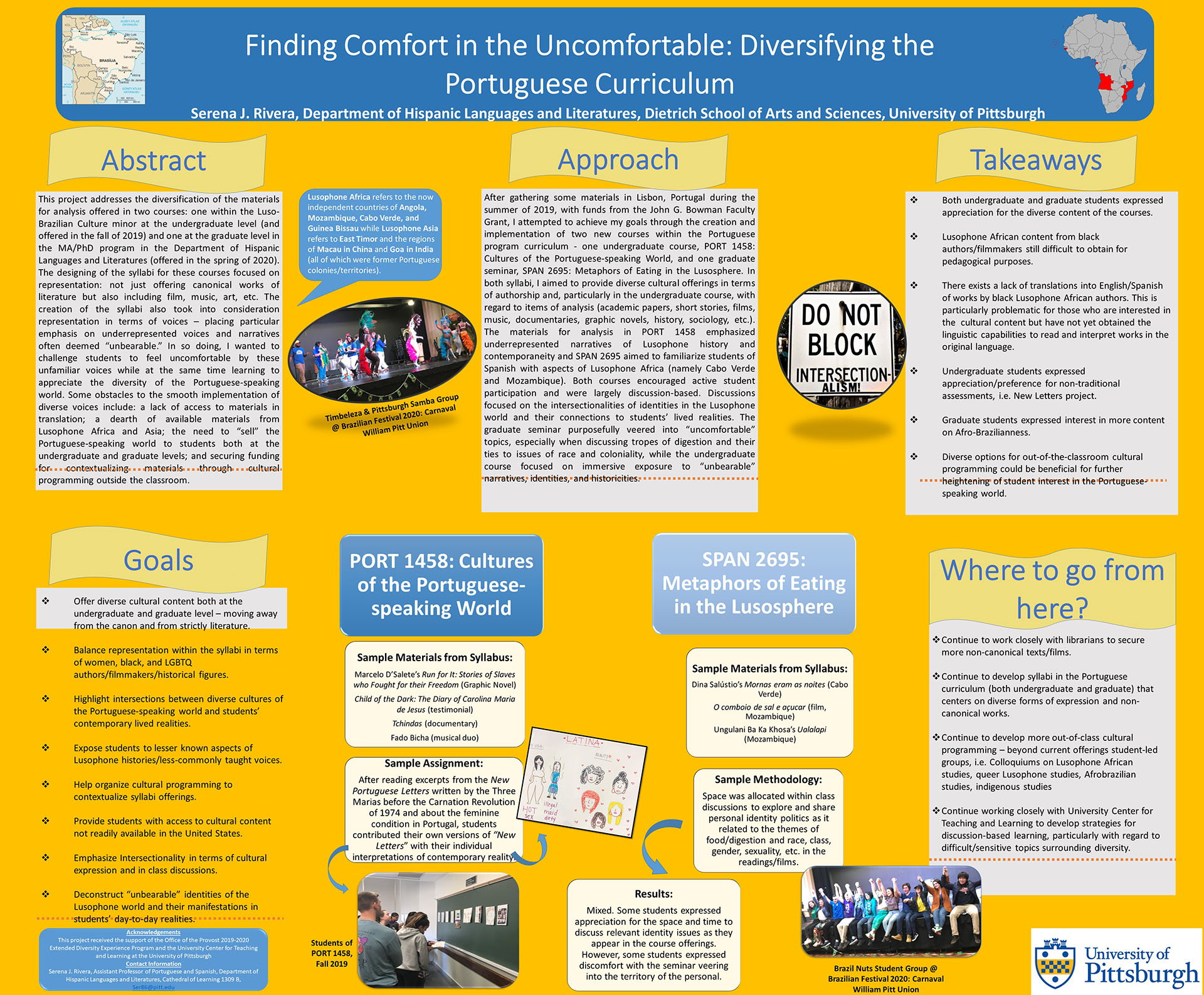 Serena J. Rivera, PhD - Extended Diversity Experience 2020 Poster - Finding Comfort in the Uncomfortable: Diversifying the Portuguese Curriculum