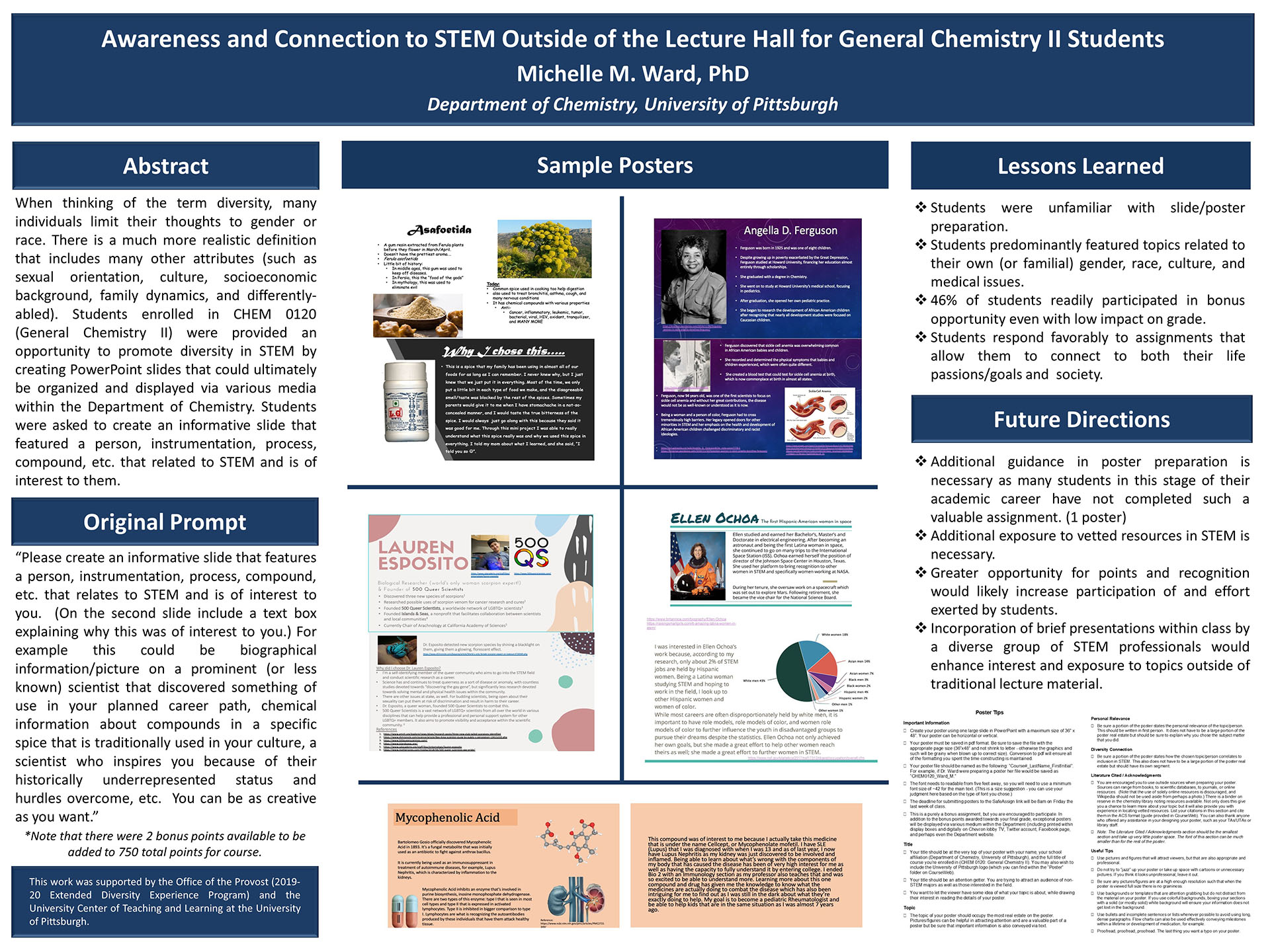 Michelle M. Ward, PhD - Extended Diversity Experience 2020 Poster - Awareness and Connection to STEM Outside of the Lecture Hall for General Chemistry II Students