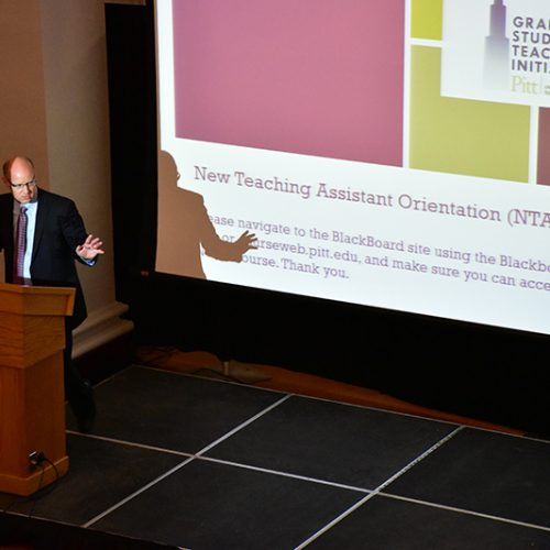 Annual Report 2020 - New Teaching Assistant Orientation 2019 Event - Speaker In Front Of Room