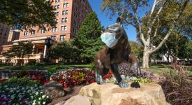 Panther Stature In Front Of Union With A COVID Mask On