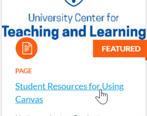 Student Resources for Using Canvas link on Canvas