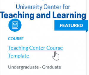 Canvas course shell showing link to the Teaching Center Course Template