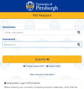 Screen shot of the My Pitt portal login page Figure 1 – Use your University credentials to enter Pitt Passport (Click to enlarge).