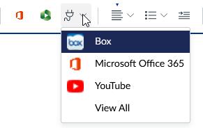 Screenshot of the Apps button menu.