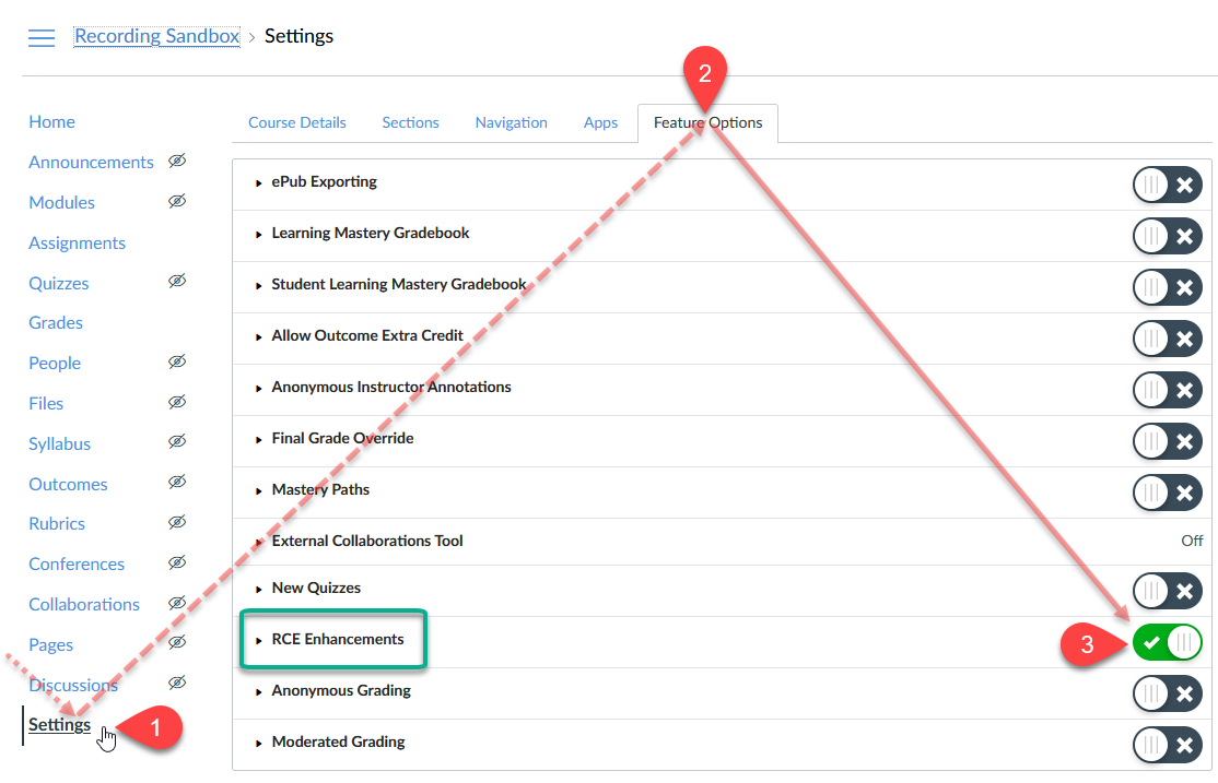 Annotated screenshot illustrating step-by-step directions preceding for enabling the new Rich Content Editor in Course Settings, Feature Options