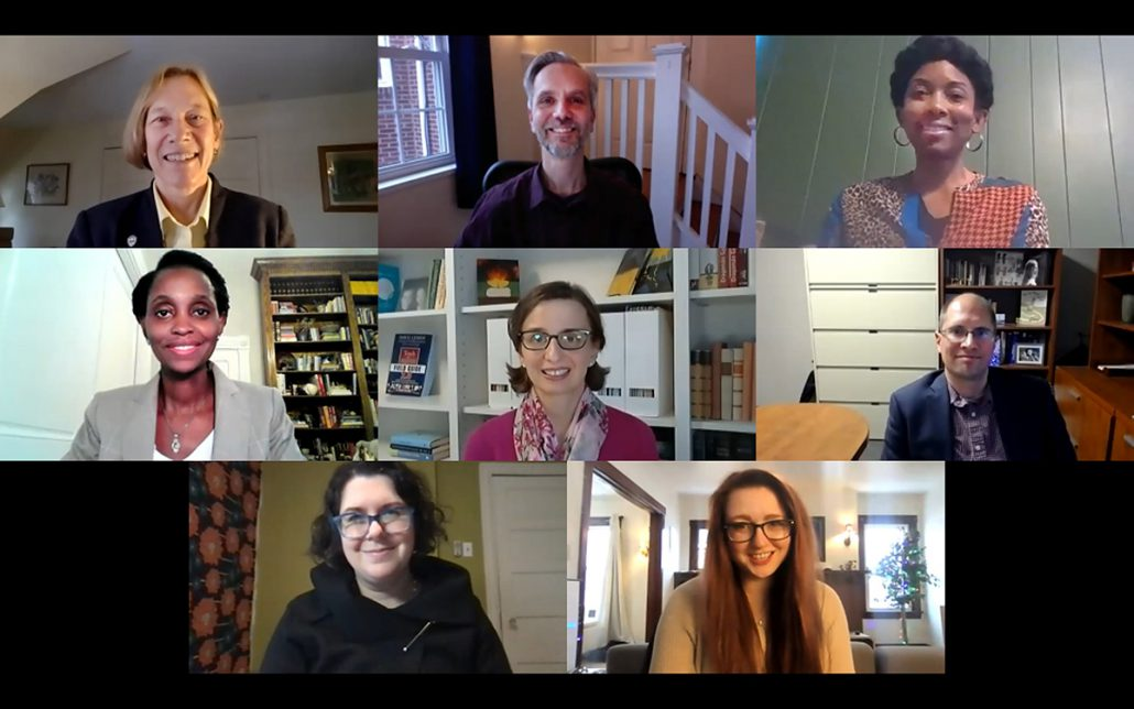 2021 Diversity in the Curriculum ward Top Row (left to right): Ann Cudd, provost and senior vice chancellor, Thomas Akiva, Dara Mendez. Middle Row: Christine Wankiiri-Hale, Zsuzsa Horvath, Andrew McCormick. Bottom Row: Lauren Jonkman, Kayla Booth.
