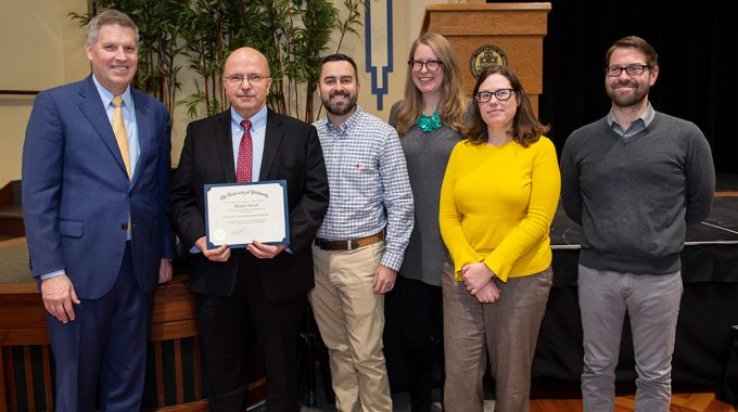 Michael Arenth, Director Of Educational Technologies For The Teaching Center, Received The 2019 University Of Pittsburgh Staff Council Mentor Award.
