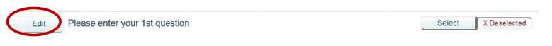 "Screen shot of ""Edit"" button in Teaching Survey interface."