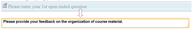 Screenshot of edit option for questions in Teaching Survey interface.