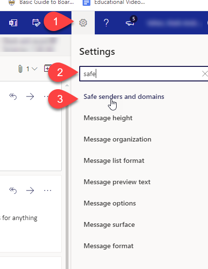 Screenshot of Pitt email settings menu.