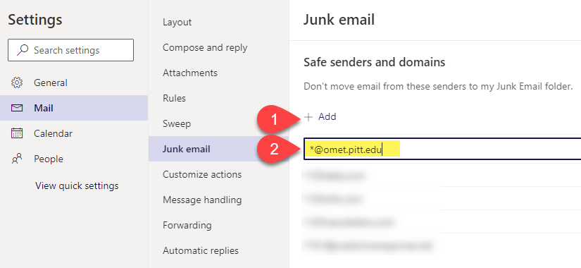 Screenshot of Junk Mail settings in Pitt Outlook email.