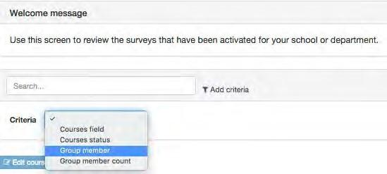 Screenshot of filtering options in OMET teaching surveys.