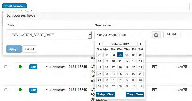 Screenshot of editing filter options for dates in OMET teaching surveys.