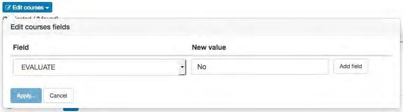 Screenshot of opting out of groups in OMET teaching surveys.