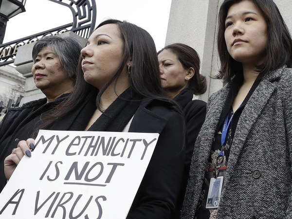 Asian Americans protesting racism.