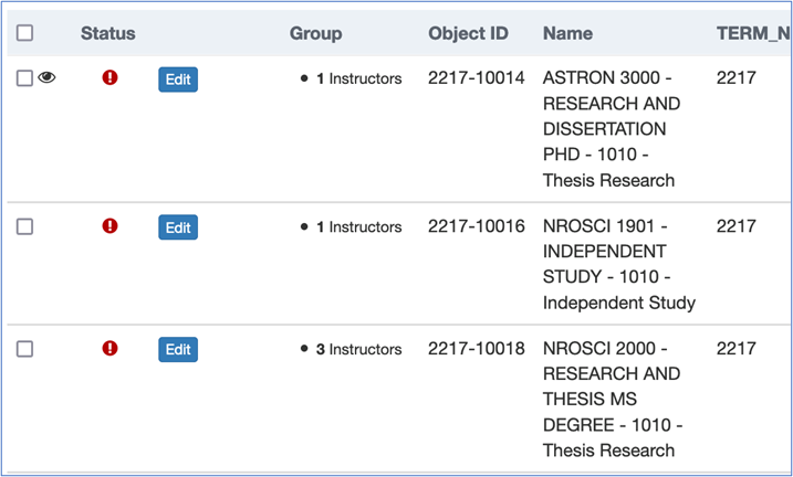 Screenshot of OMET survey screen showing a list of classes assigned to you.