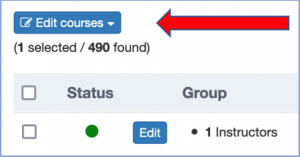 """Screenshot with red arrow pointing to """"Edit Courses"""" button described in text."""