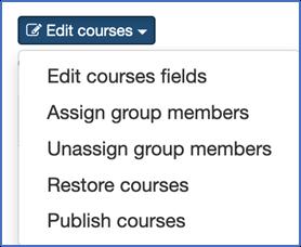 "Screenshot showing dropdown menu with ""Publish Courses"" option."