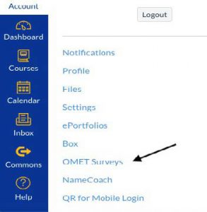 Screenshot of Canvas menu with arrow pointing to OMET Surveys link