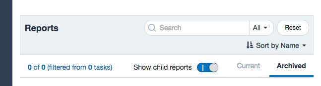 """Reports screen of OMET Surveys showing """"Archive"""" selected"""