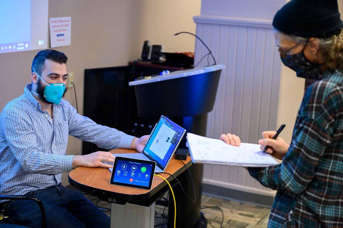 Max Glider Demonstrates The Flex@Pitt Classroom Technology In Alumni Hall.